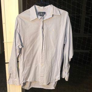 Purple and white polo button down shirt